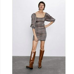 Zara plaid knit dress with puff short sleeves